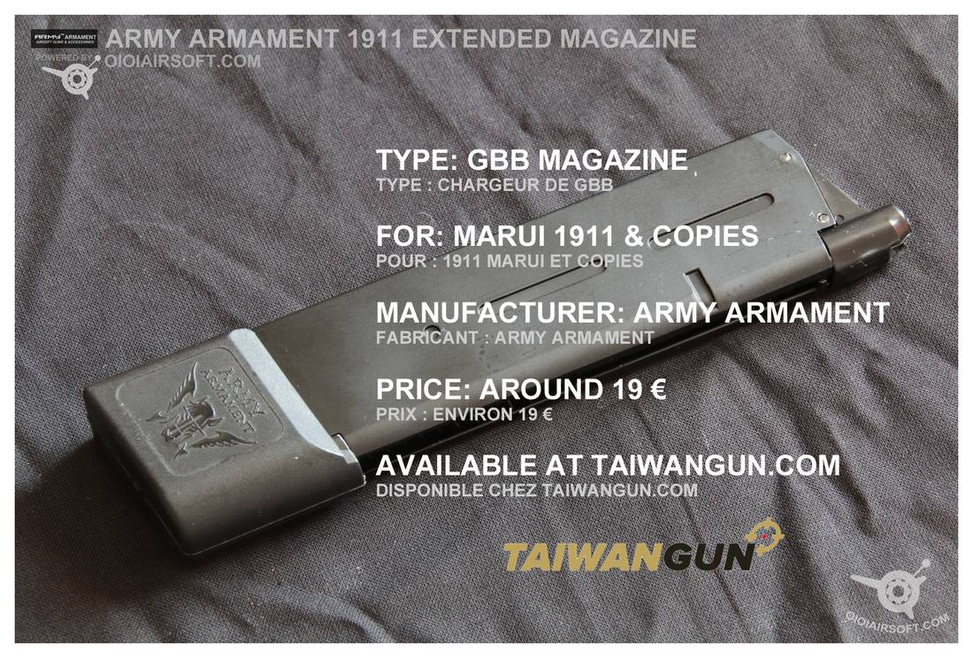 1911 extended magazine mag GBB GBBP airsoft long chargeur